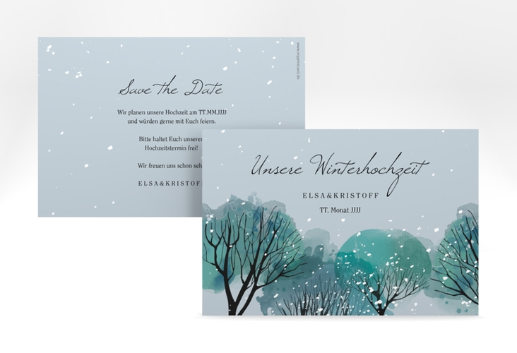"Save the Date-Karte ""Winterhochzeit"" A6 quer blau"