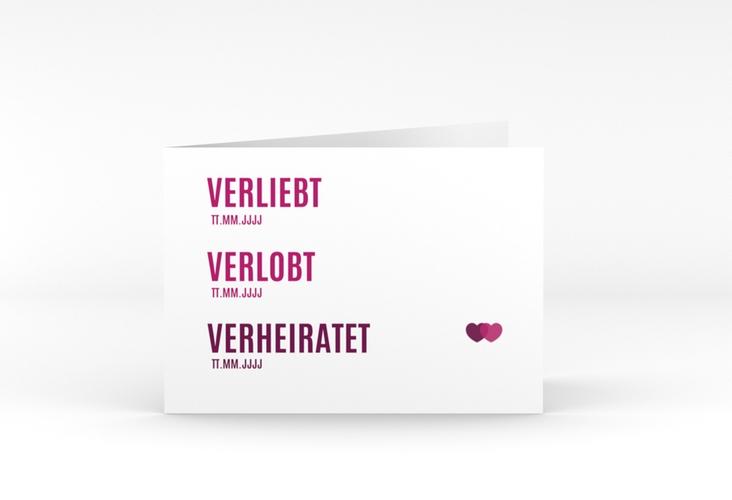 "Danksagungskarte Hochzeit ""Couple"" A6 Klappkarte Quer pink"