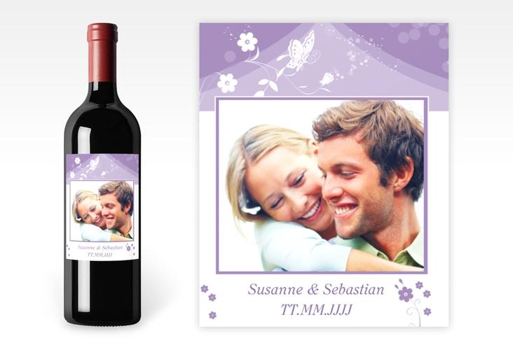 """Weinflaschenetikett Hochzeit """"Verona"""" Etikett Weinflasche 4er Set lila"""