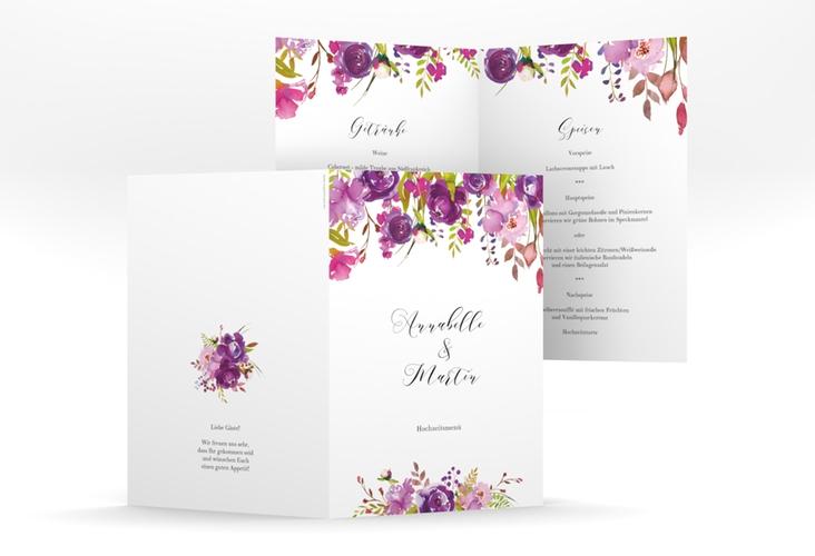 """Menükarte Hochzeit """"Violett"""" DIN A5 geklappt"""