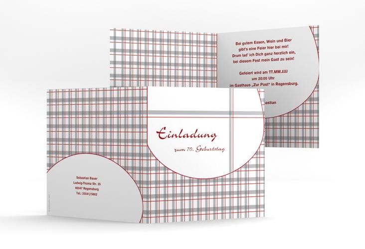 """Einladungskarte """"Herbert"""" Quadratische Klappkarte rot"""