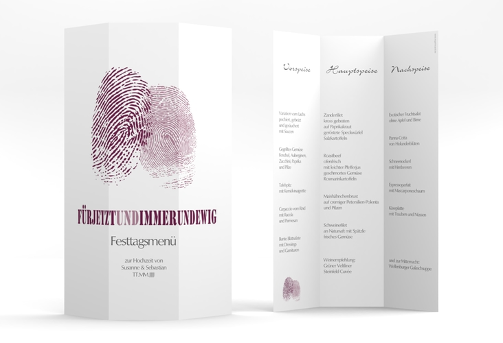 "Menükarte Hochzeit ""Messina"" DIN A4 Wickelfalz lila"