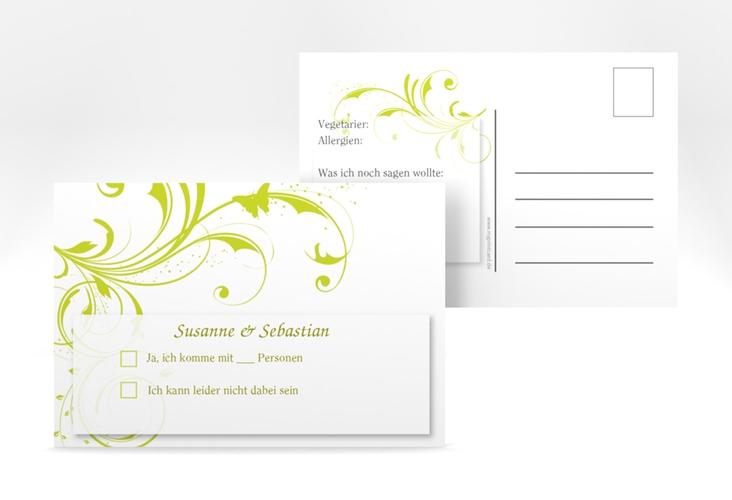 "Antwortkarte Hochzeit ""Palma"" A6 Postkarte gruen"