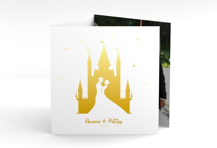"""Dankeskarte Hochzeit """"Castle"""" Quadr. Karte doppelt gold"""