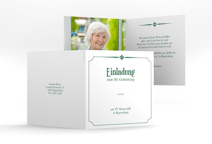 """Einladungskarte """"Helmut/Helmine"""" Quadratische Klappkarte gruen"""