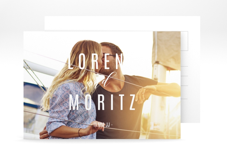 "Verlobungskarte Hochzeit ""Memory"" A6 Postkarte weiss"