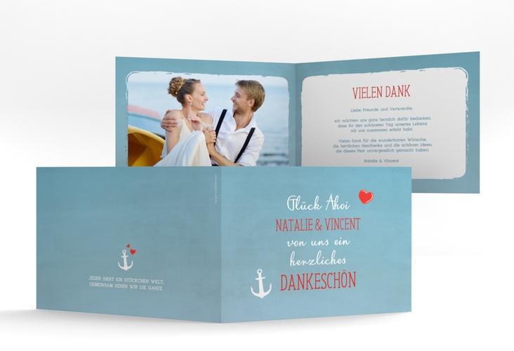 """Danksagungskarte Hochzeit """"Ehehafen"""" A6 Klappkarte Quer blau"""