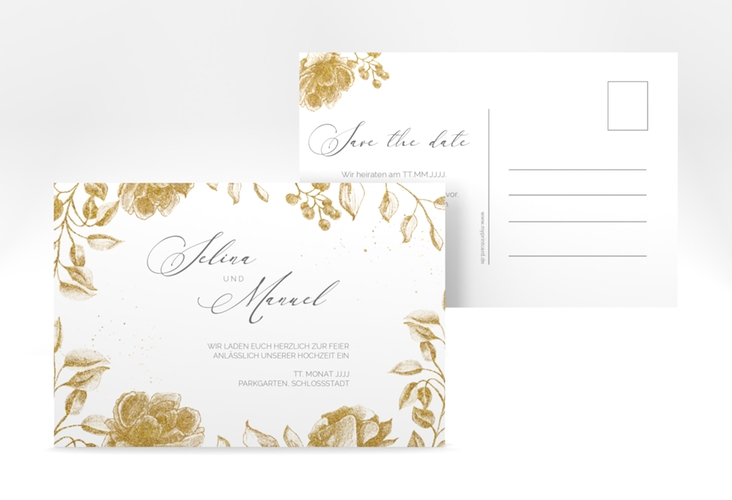 "Save the Date-Postkarte ""Blattgold"" A6 Postkarte"
