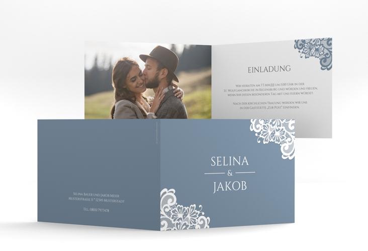 """Hochzeitseinladung """"Vintage"""" A6 Klappkarte Quer blau"""