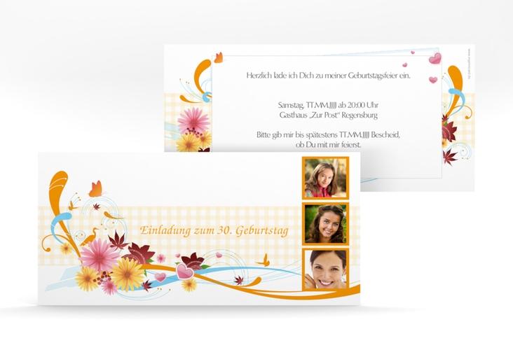 "Einladungskarte ""Elisabeth"" DIN lang orange"