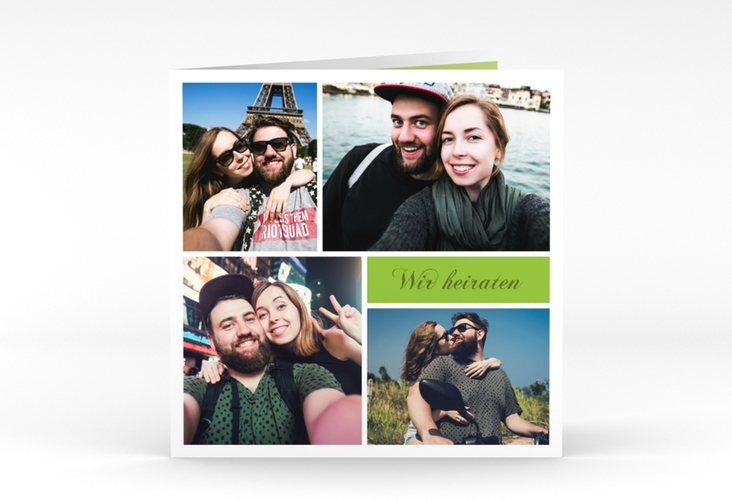 """Hochzeitseinladung """"Collage"""" Quadratische Klappkarte gruen"""