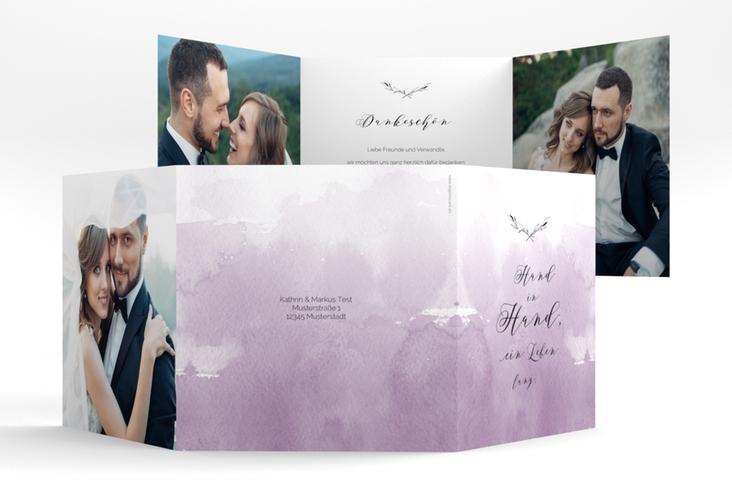 "Dankeskarte Hochzeit ""Divine"" Quadr. Karte doppelt flieder"