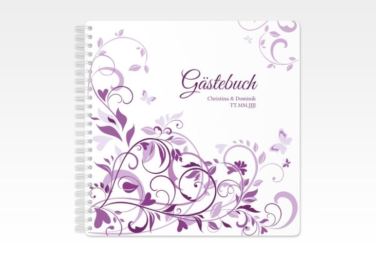 "Gästebuch Hochzeit ""Lilly"" Ringbindung lila"