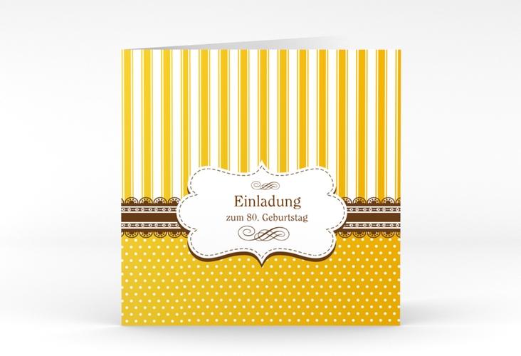 """Einladungskarte """"Heinrich/Henriette"""" Quadratische Klappkarte gold"""