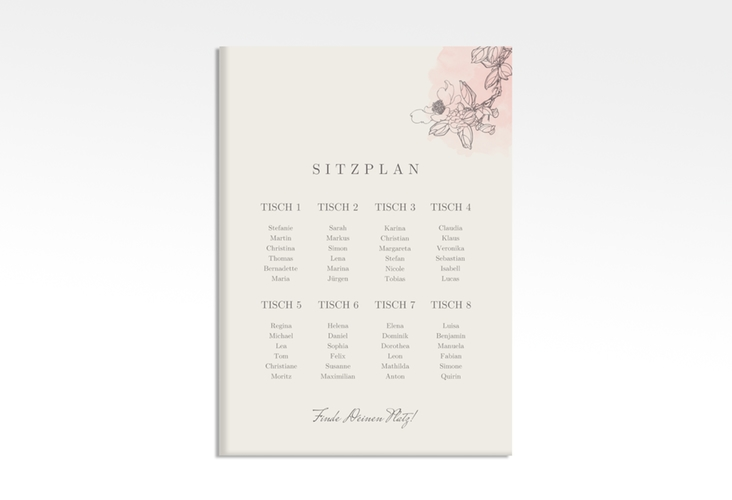 "Sitzplan Leinwand Hochzeit ""Artlover"" 50 x 70 cm Leinwand rosa"