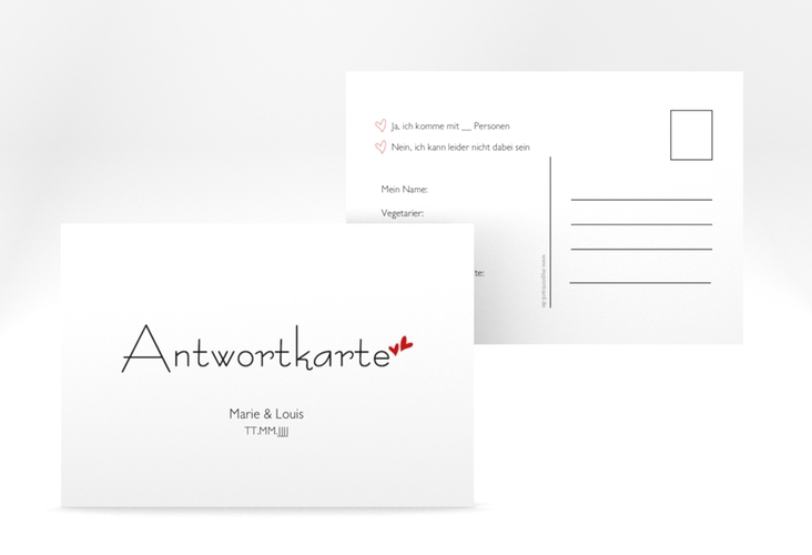 "Antwortkarte Hochzeit  ""Twohearts"" A6 Postkarte"