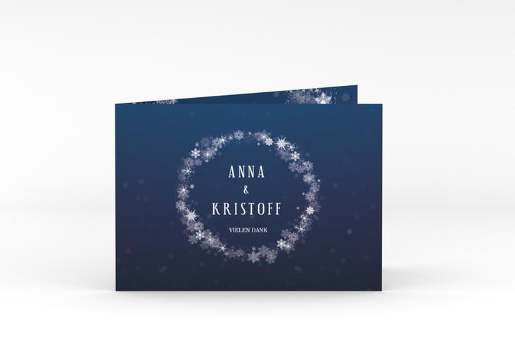 """Danksagungskarte Hochzeit """"Winterdream"""" A6 Klappkarte Quer blau"""