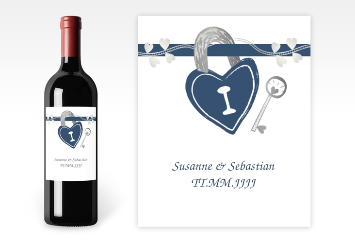 """Weinflaschenetikett Hochzeit """"Oviedo"""" Etikett Weinflasche 4er Set blau"""