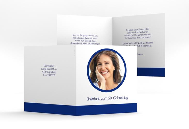 "Einladungskarte ""Anton/Antonia"" Quadratische Klappkarte blau"
