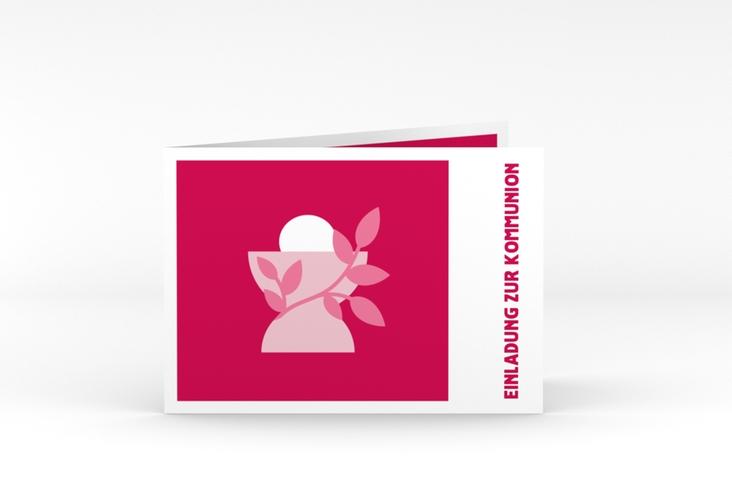 "Kommunionseinladung ""Hostia"" A6 Klappkarte Quer pink"