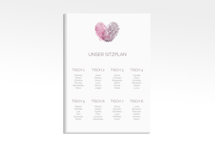 "Sitzplan Leinwand Hochzeit ""Fingerprint"" 50 x 70 cm Leinwand pink"
