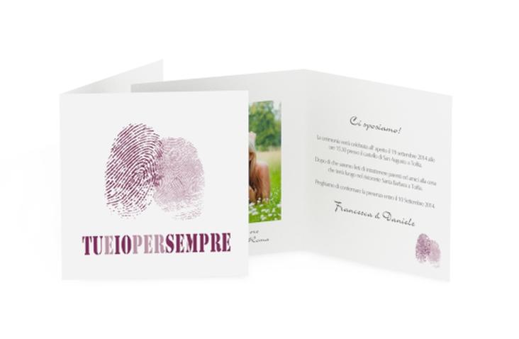Inviti matrimonio collezione Messina Quadratische Klappkarte lila