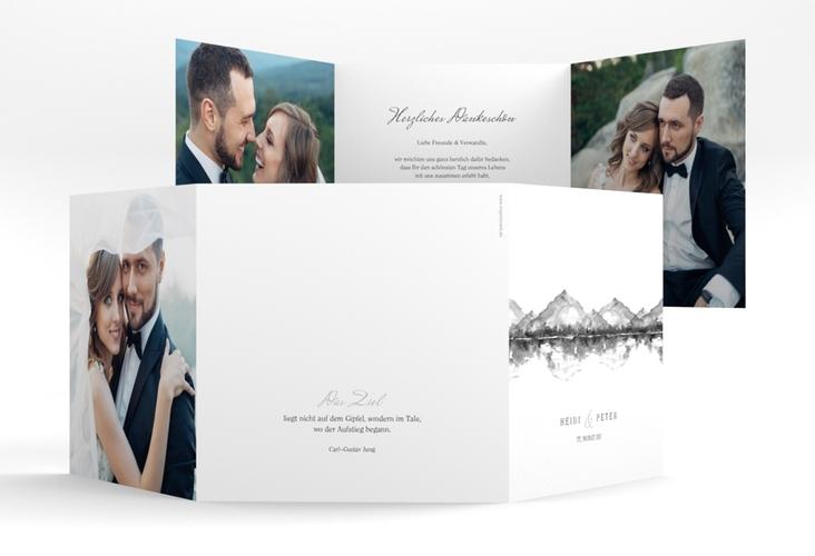 "Dankeskarte Hochzeit ""Bergliebe"" Quadr. Karte doppelt grau"