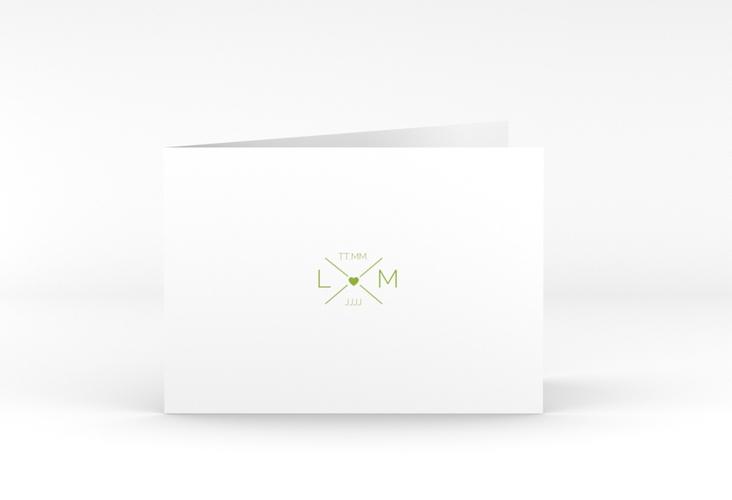 """Danksagungskarte Hochzeit """"Initials"""" A6 Klappkarte Quer gruen"""