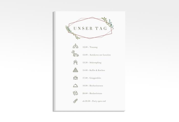 """Tagesablauf Leinwand Hochzeit """"Herbarium"""" 50 x 70 cm Leinwand rosa"""