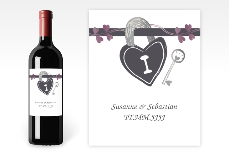 """Weinflaschenetikett Hochzeit """"Oviedo"""" Etikett Weinflasche 4er Set grau"""