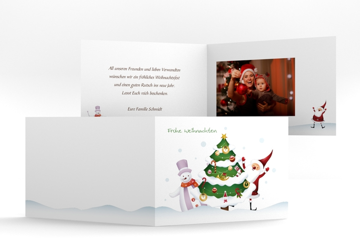 """Weihnachtskarte """"Schneetreiben"""" A6 Klappkarte Quer"""