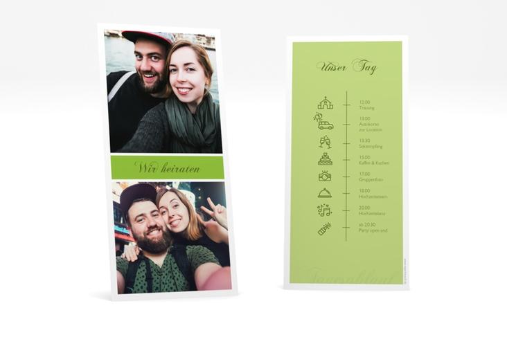 """Tagesablauf Hochzeit """"Collage"""" DIN lang hoch gruen"""