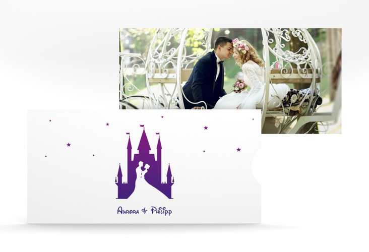"""Hochzeitseinladung """"Castle"""" Einsteckkarte lila"""