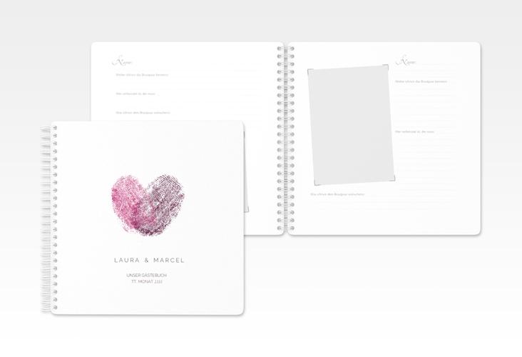 """Gästebuch Hochzeit """"Fingerprint"""" Ringbindung pink"""