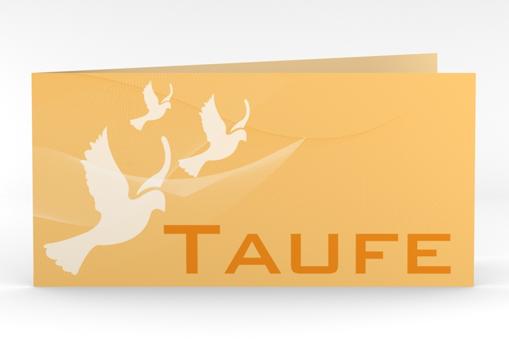 "Einladung Taufe ""Soul"" DIN lang Klappkarte orange"
