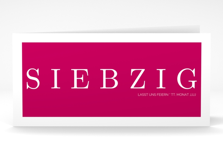"""Einladungskarte """"Schlicht"""" DIN lang Klappkarte pink"""