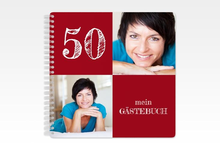 "Gästebuch Geburtstag ""Lebensfreude"" Ringbindung rot"