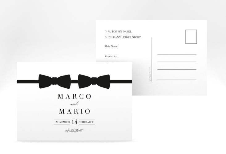 """Antwortkarte Hochzeit """"Suits"""" A6 Postkarte"""