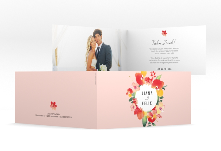"Danksagungskarte Hochzeit ""Exotic"" DIN lang Klappkarte apricot"