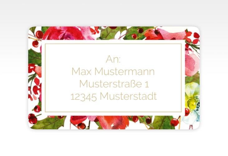 """Empfängeretikett Hochzeit """"Blumenpracht"""" 63,5 x 38,1 mm weiss"""