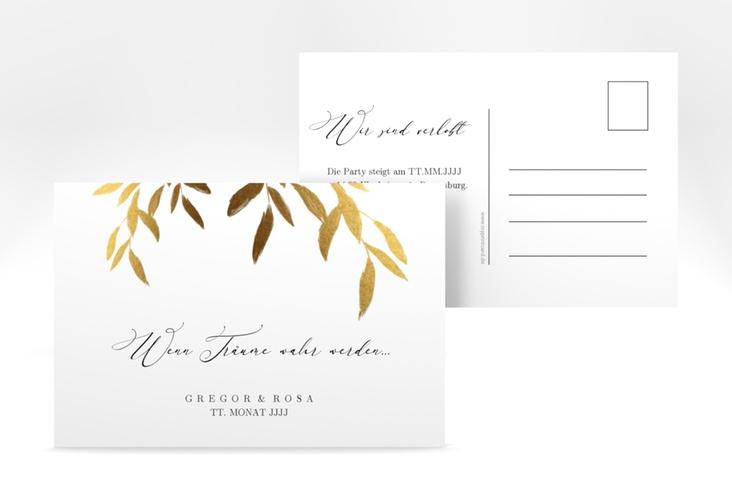 "Verlobungskarte Hochzeit ""Demure"" A6 Postkarte weiss"
