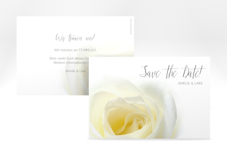 "Save the Date-Karte Hochzeit  ""Rose"" A6 quer"