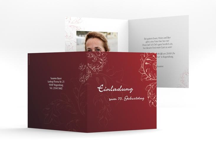 """Einladungskarte """"Peter/Petra"""" Quadratische Klappkarte rot"""