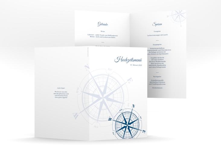 """Menükarte Hochzeit """"Windrose"""" DIN A5 geklappt blau"""