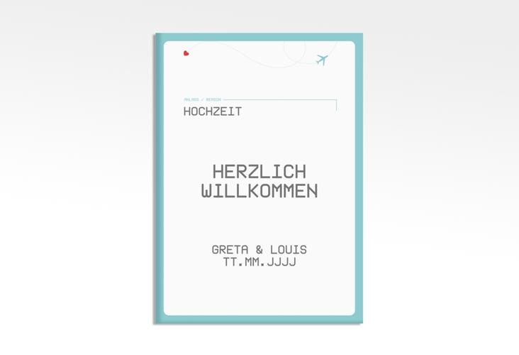 "Willkommensschild Leinwand ""Weddingpass"" 50 x 70 cm Leinwand blau"