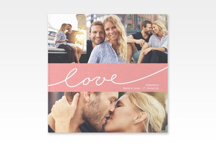"Gästebuch Selection Hochzeit ""Line"" Leinen-Hardcover rosa"
