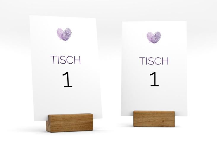 """Tischnummer Hochzeit """"Fingerprint"""" Tischaufsteller lila"""