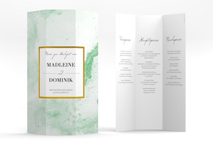 """Menükarte Hochzeit """"Marble"""" DIN A4 Wickelfalz gruen"""