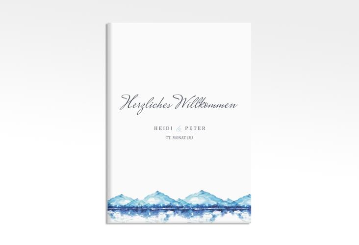 "Willkommensschild Leinwand ""Bergliebe"" 50 x 70 cm Leinwand blau"