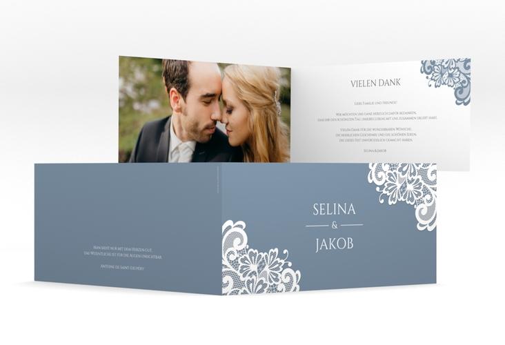 "Dankeskarte Hochzeit ""Vintage"" DIN lang Klappkarte blau"